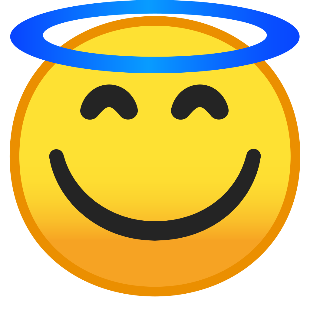 Emoji happy face png. Smiling with halo icon