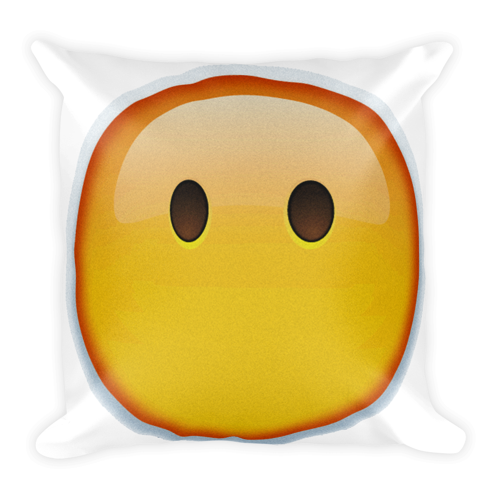 Emoji pillow png. Face without mouth just