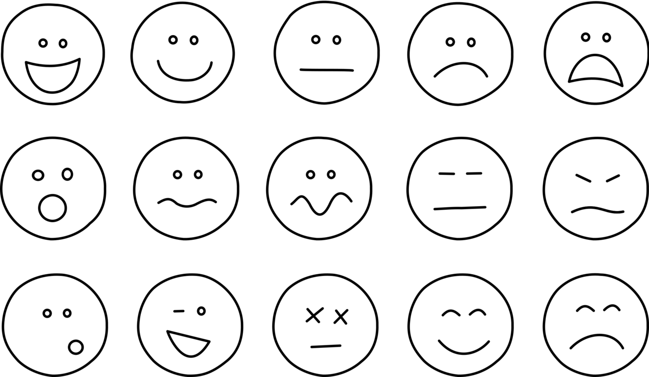 Smiley coloring book emoticon. Emotions clipart black and white stock