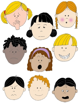 Kids in action faces. Emotions clipart vector stock