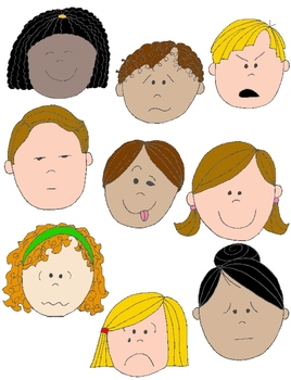 Kids in action faces. Emotions clipart picture black and white library