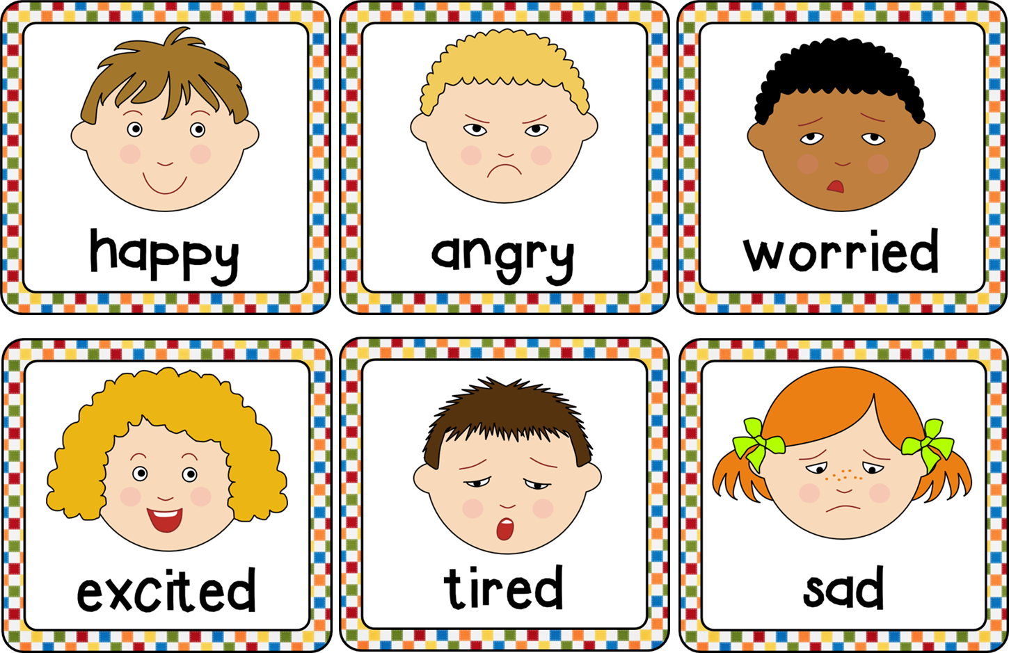 Feelings clipart feeling chart. Emotions cards helps to