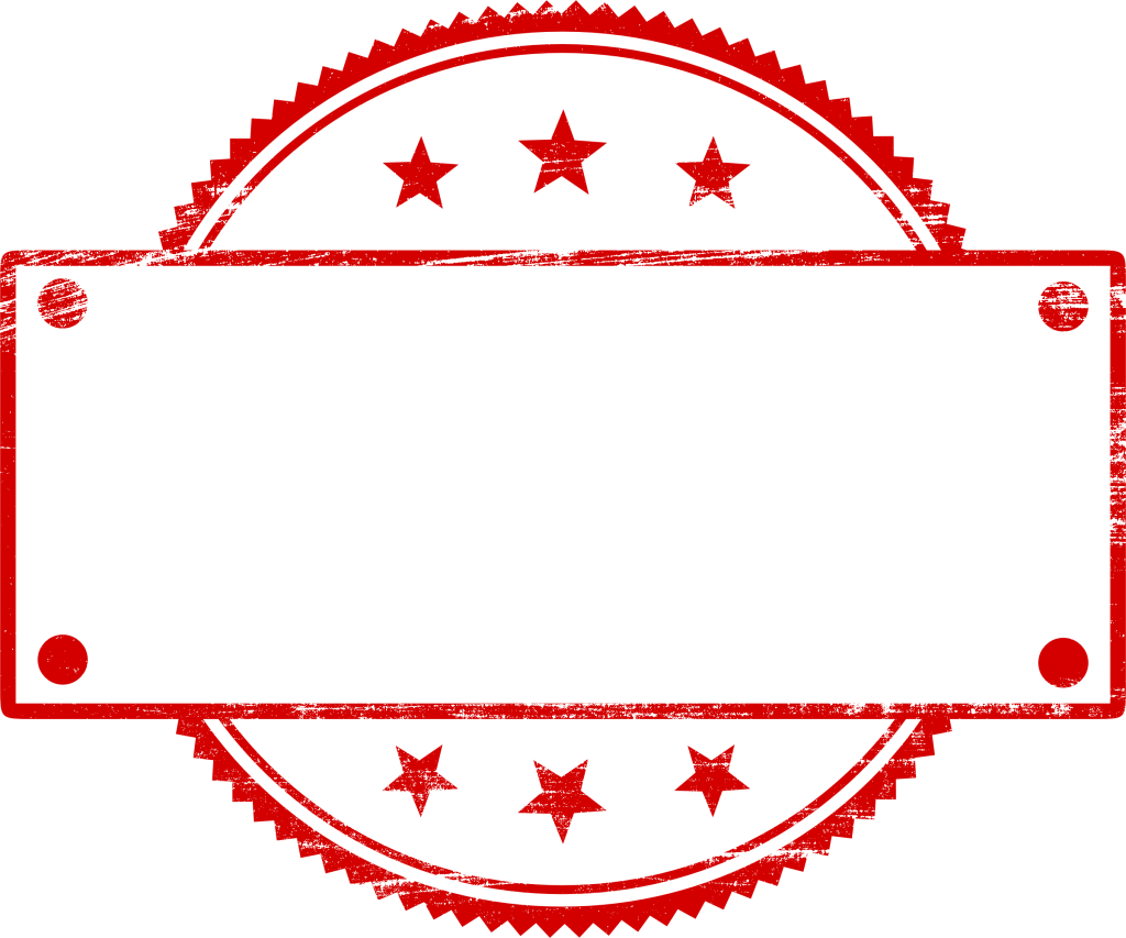Empty banner png. Red stamp vector