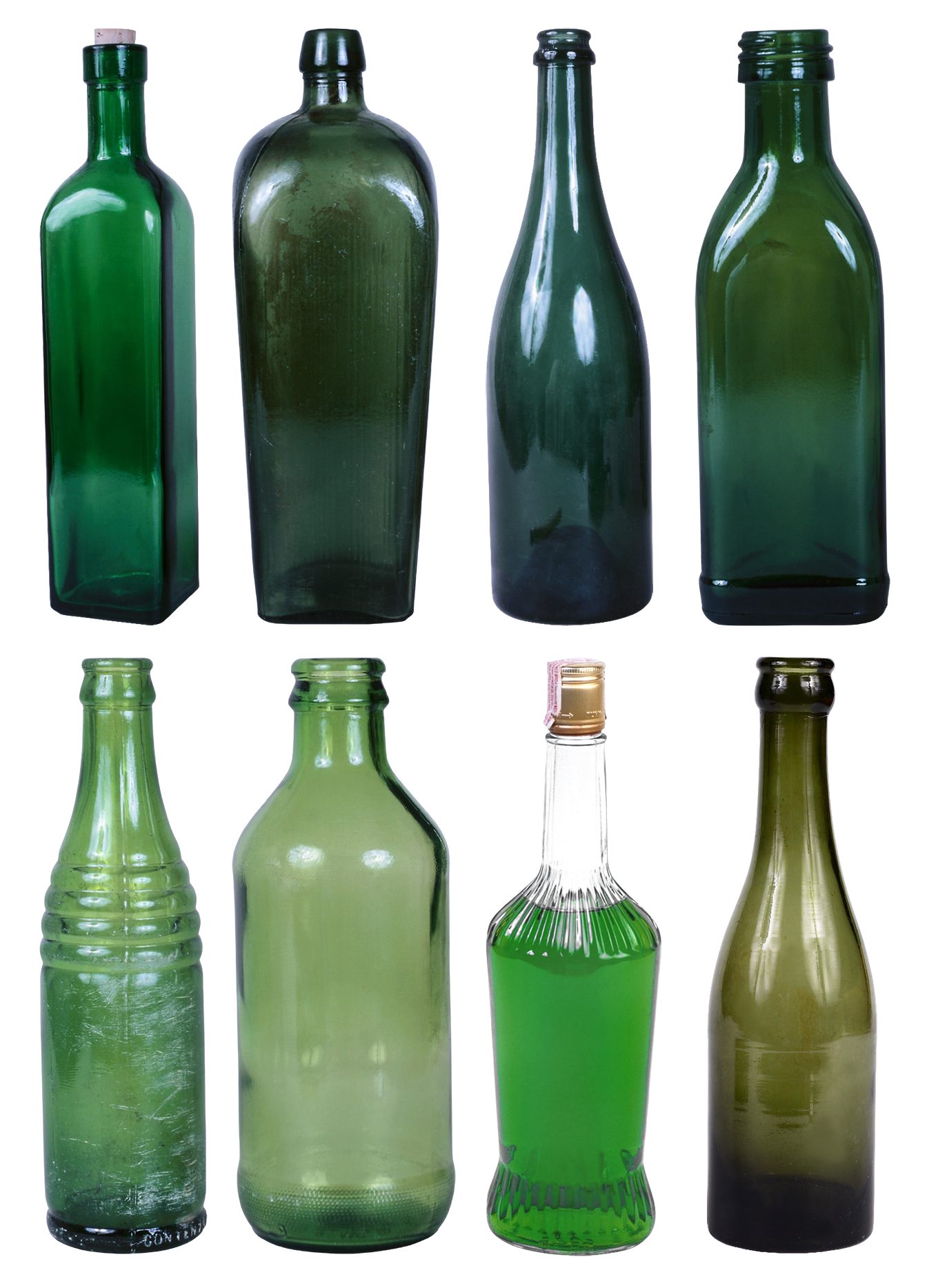 Empty beer bottle png. Set of alcohol bottles