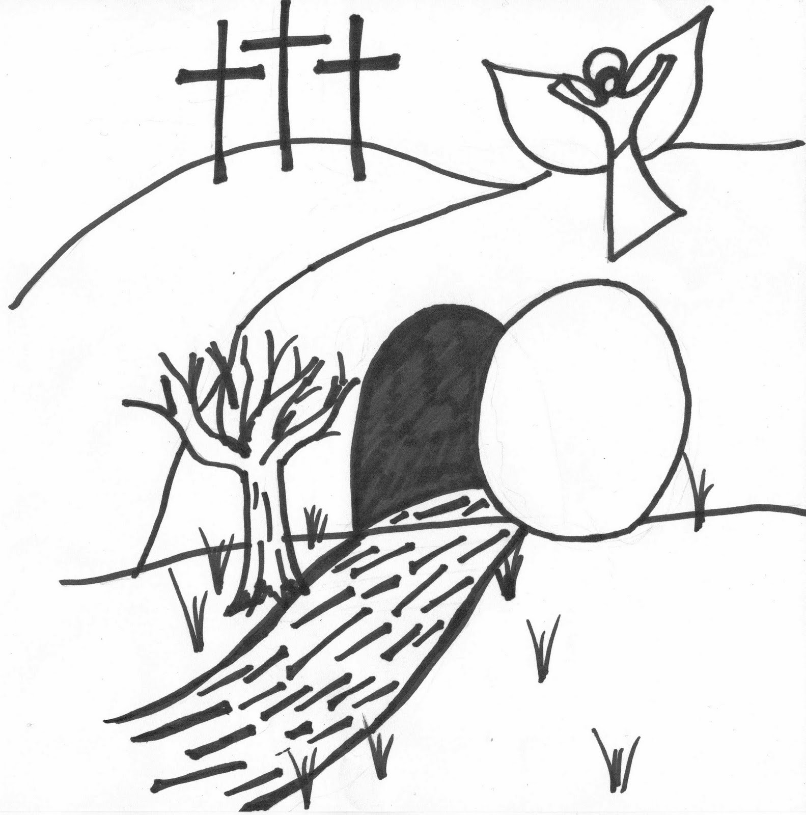 The Garden Tomb Easter Coloring Page | 1600x1583