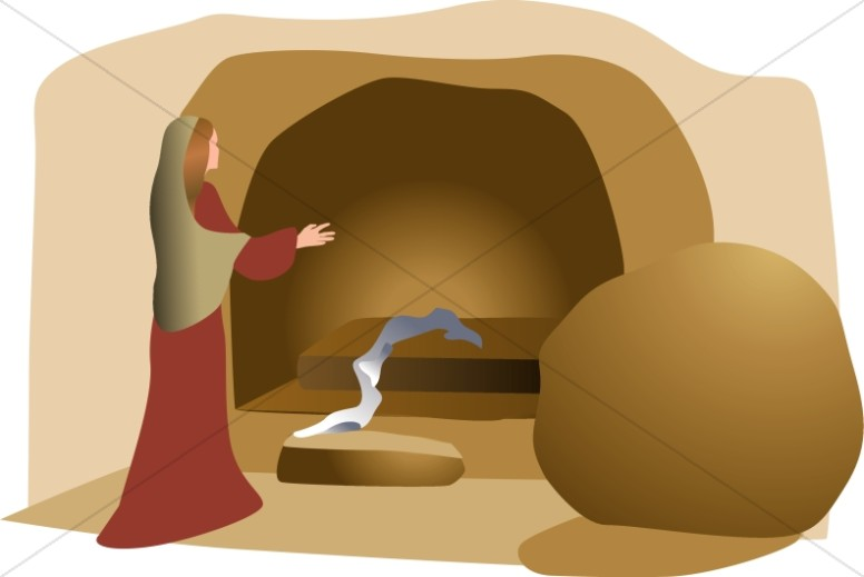 Grave clipart tomb. Open with linen easter