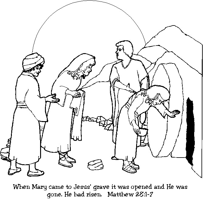 Empty tomb clipart tomb jesus. Is alive coloring page