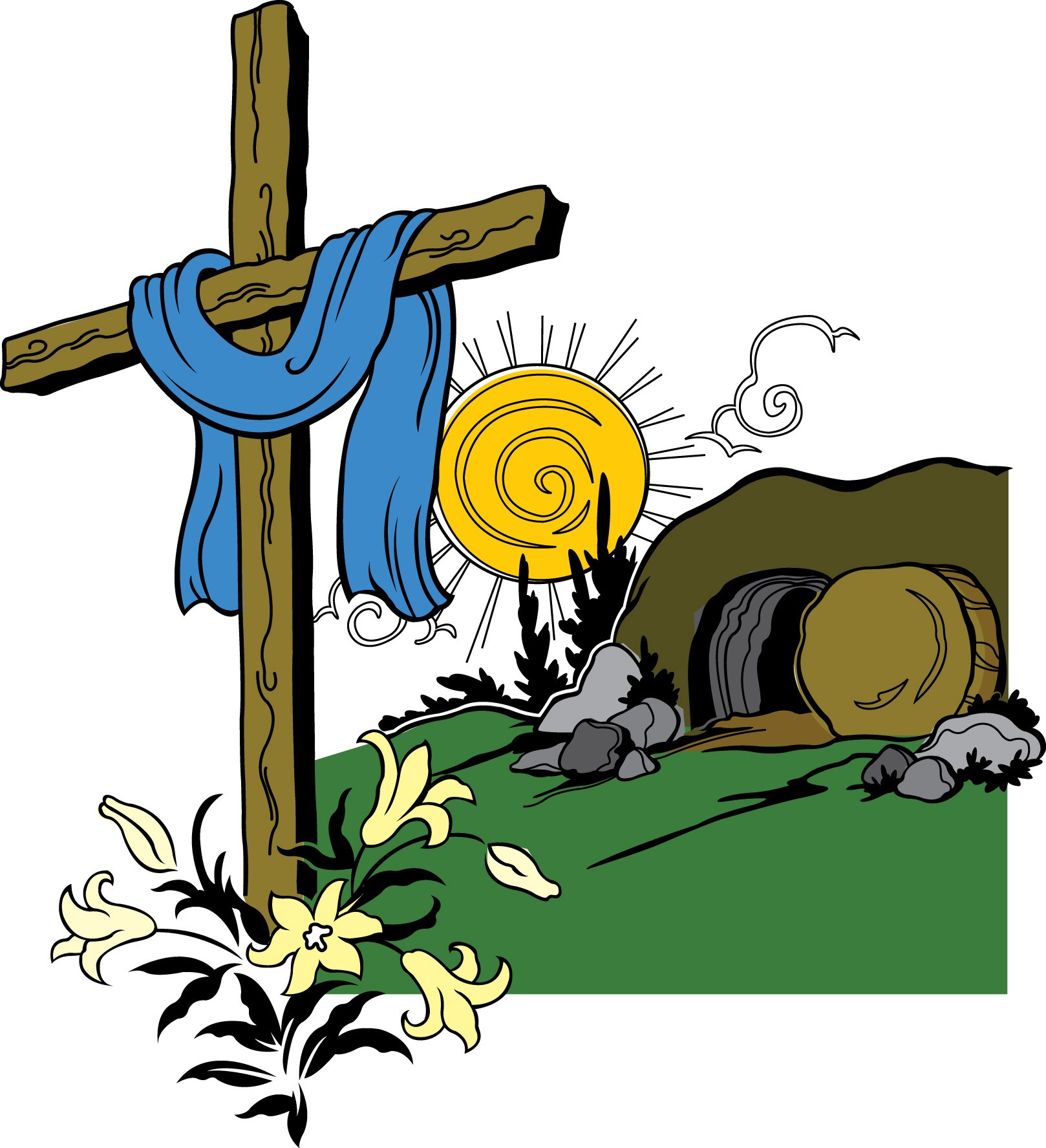 Resurrection clipart tomb sealed jesus. Coloring pictures of empty