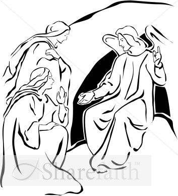 Empty tomb clipart tomb jesus. Two marys with angel