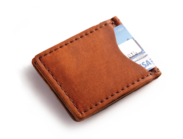 Emtpy wallet png. Leather money clip made