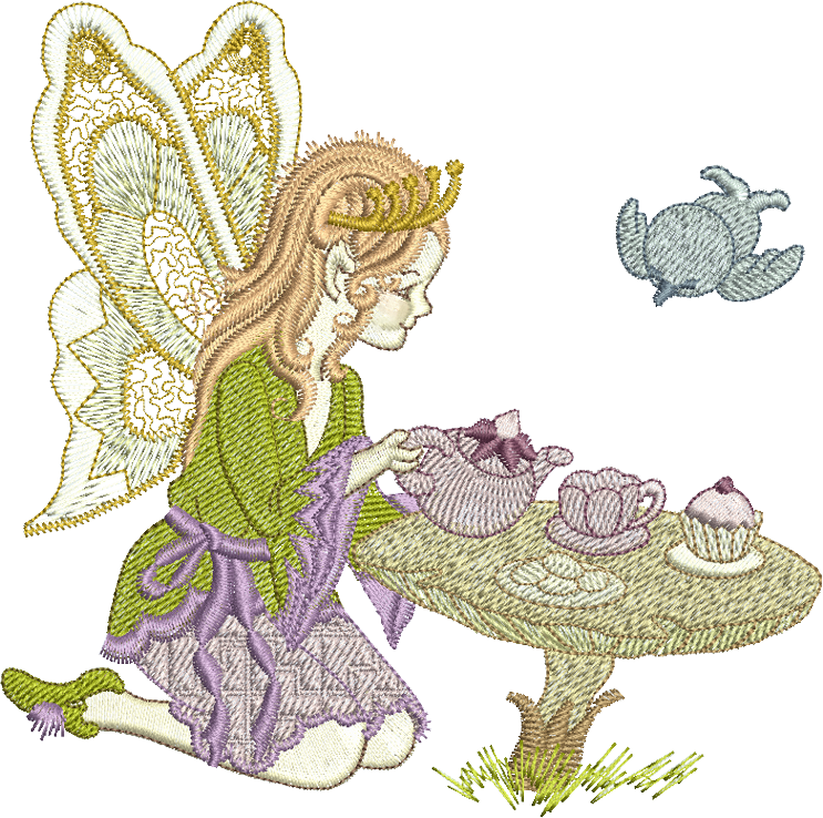 Enchanted drawing faery. Fairy tina serving tea