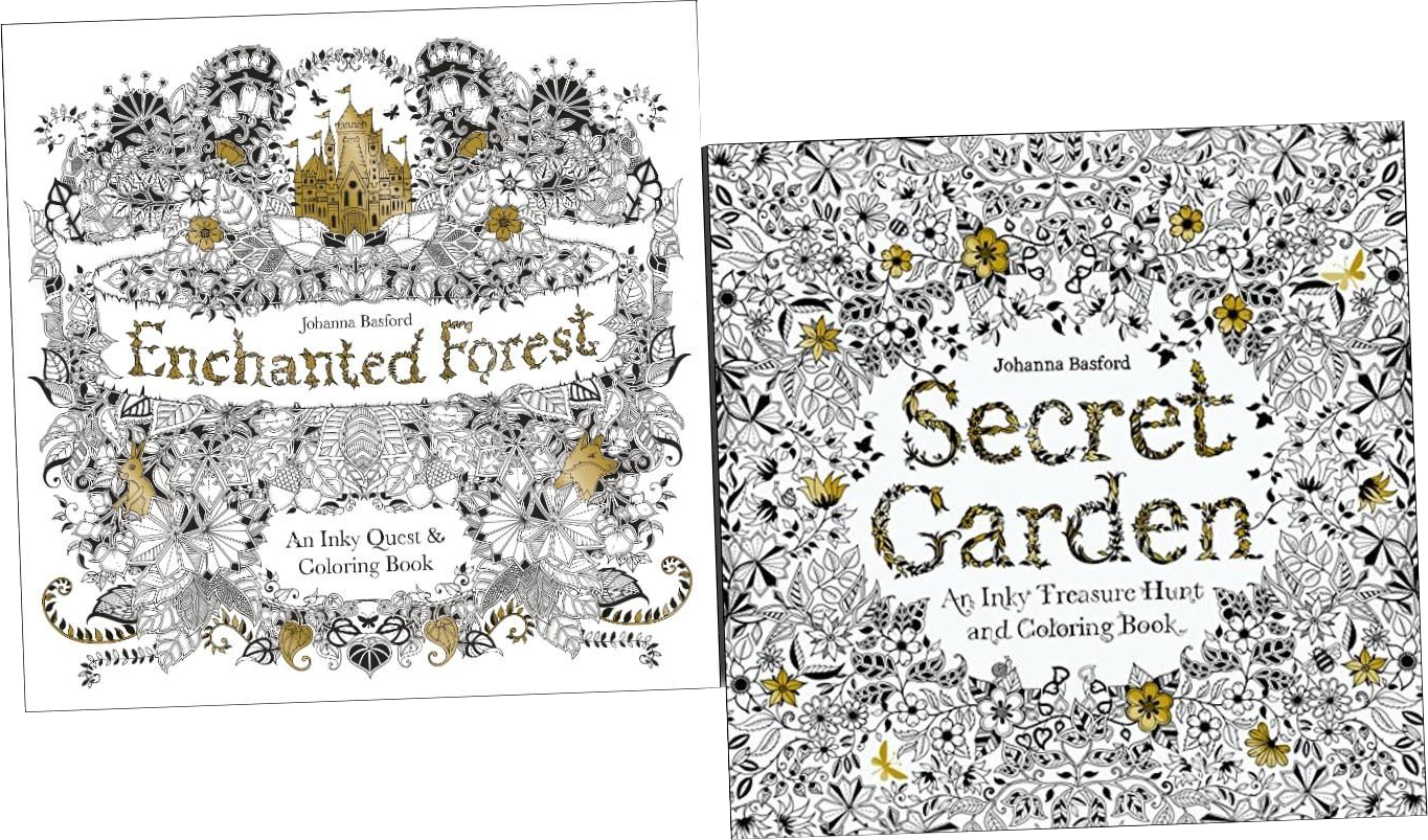 Enchanted drawing secret garden. Forest inky treasure colouring