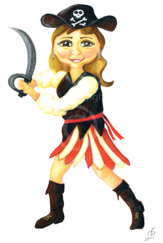 Enchanted drawing girl. Pirate kezalina cartoon illustration