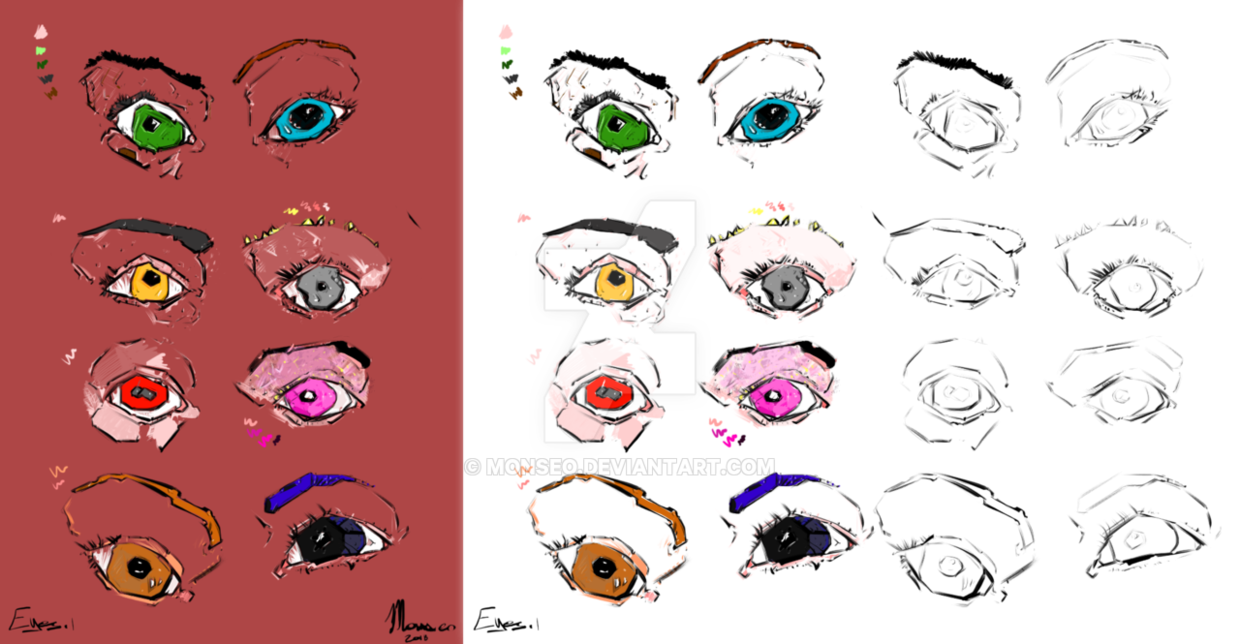Enchanted drawing sketch. Eyes starter and colored