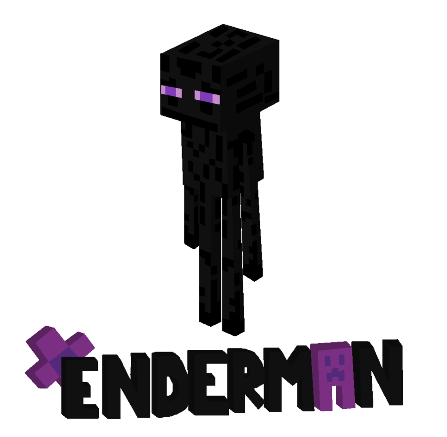 Enderman drawing purple. Minecraft clip art library