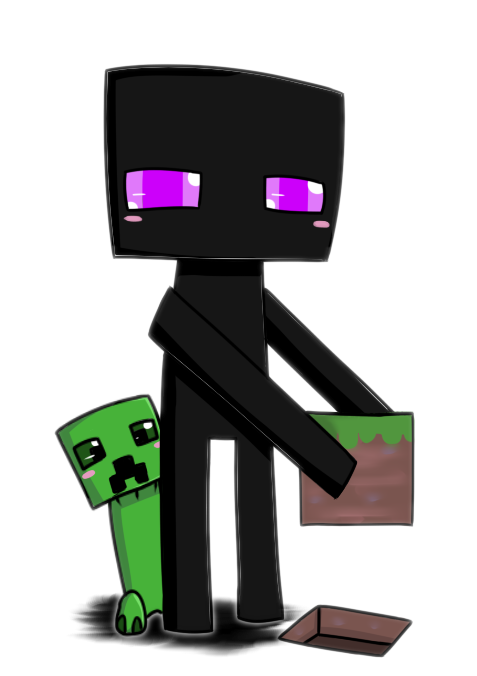 And creeper chibi by. Enderman drawing scary black and white download