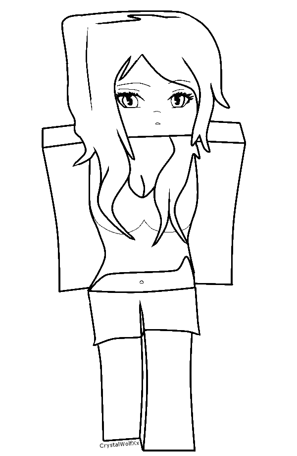 Enderman drawing minecraft coloring page. Cute girl projects to