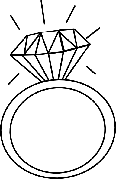 Engagement clipart cute. Ring outline clip art