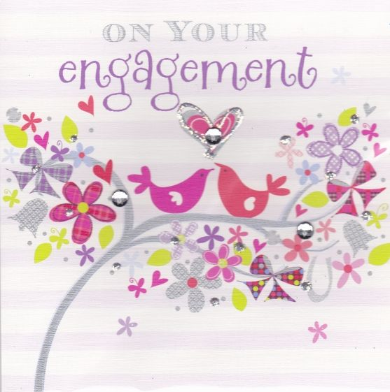 Engagement clipart engagement card. Hand painted karenza paperie