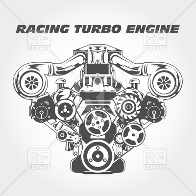 Racing with supercharger power. Engine clipart image stock