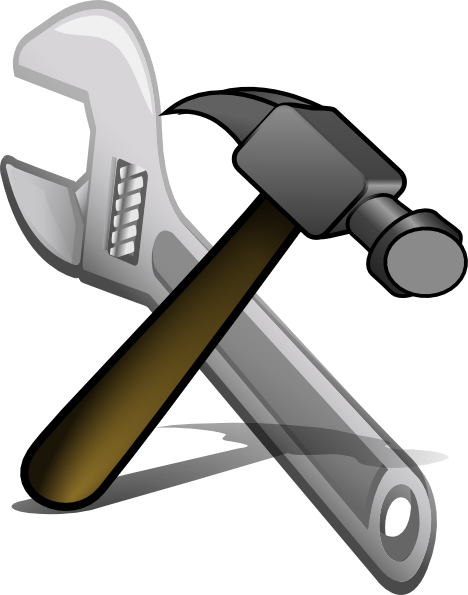 Engine clipart crossed wrench. Hammer and spanner clip