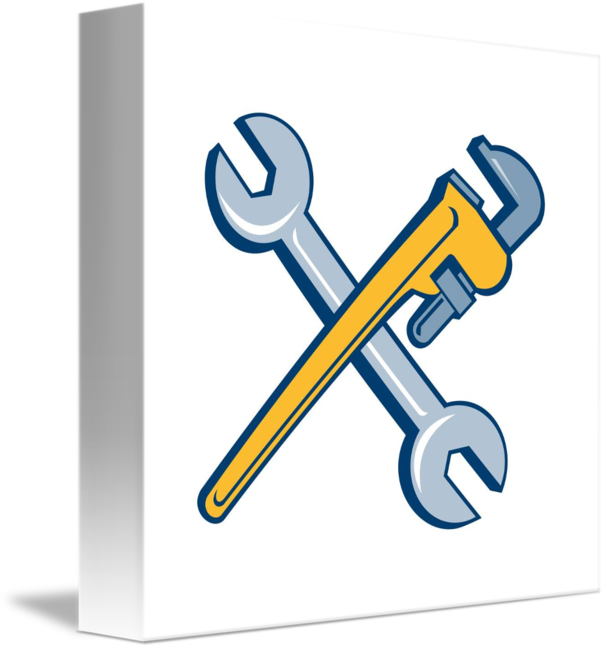 Engine clipart crossed wrench. Spanner monkey isolated cartoon