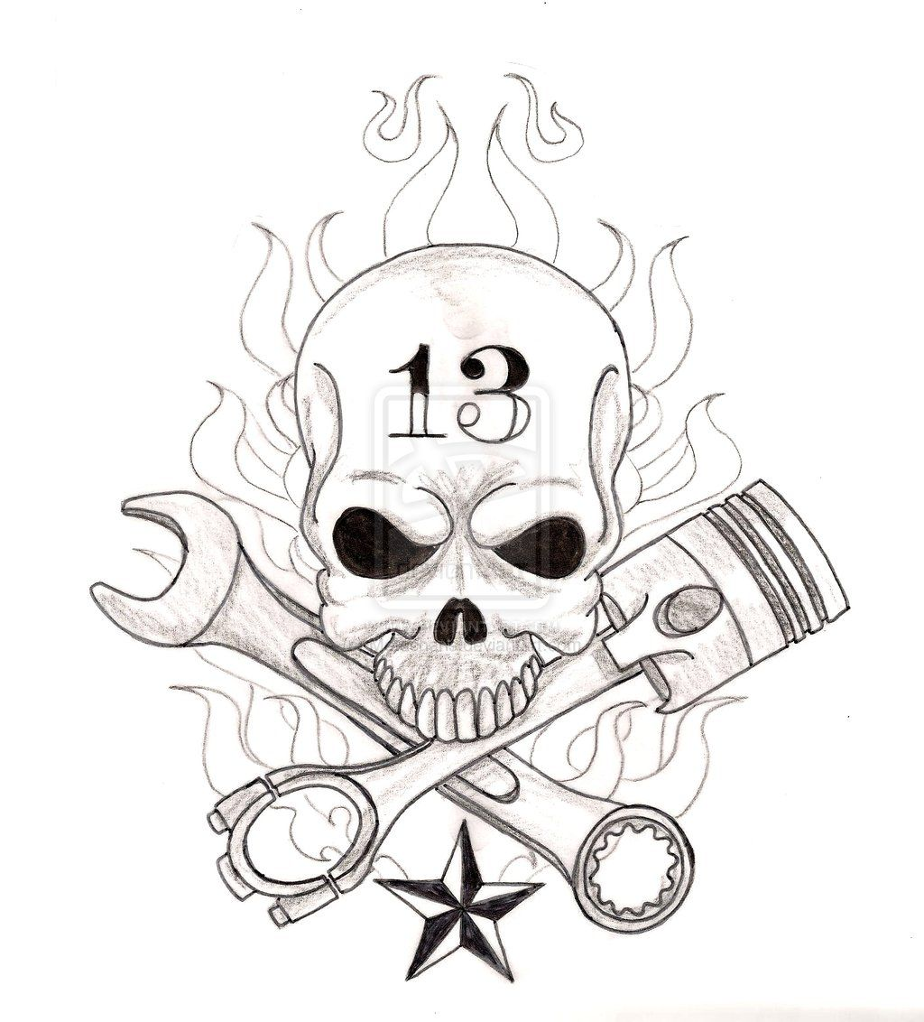 Engine clipart crossed wrench. Skull with and piston