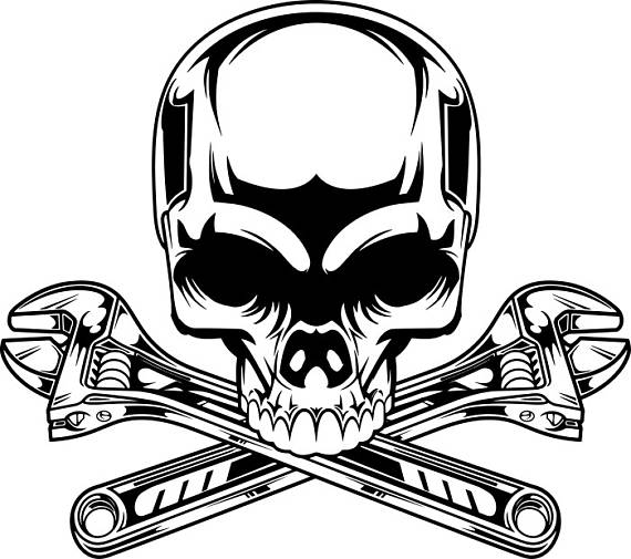 Engine clipart crossed wrench. Mechanic logo skull car