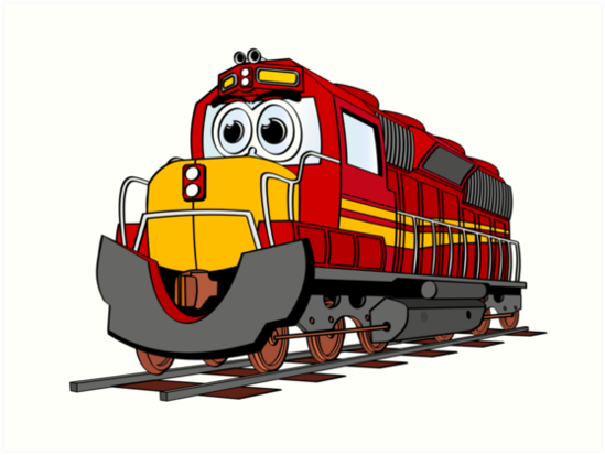 Engine clipart red train. Cartoon art prints by