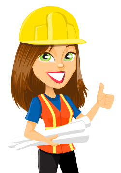 Construction clipart woman. Cartoon lady engineer png