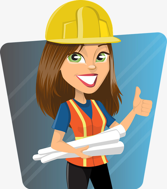Cute construction cartoon cause. Engineer clipart female engineer image download