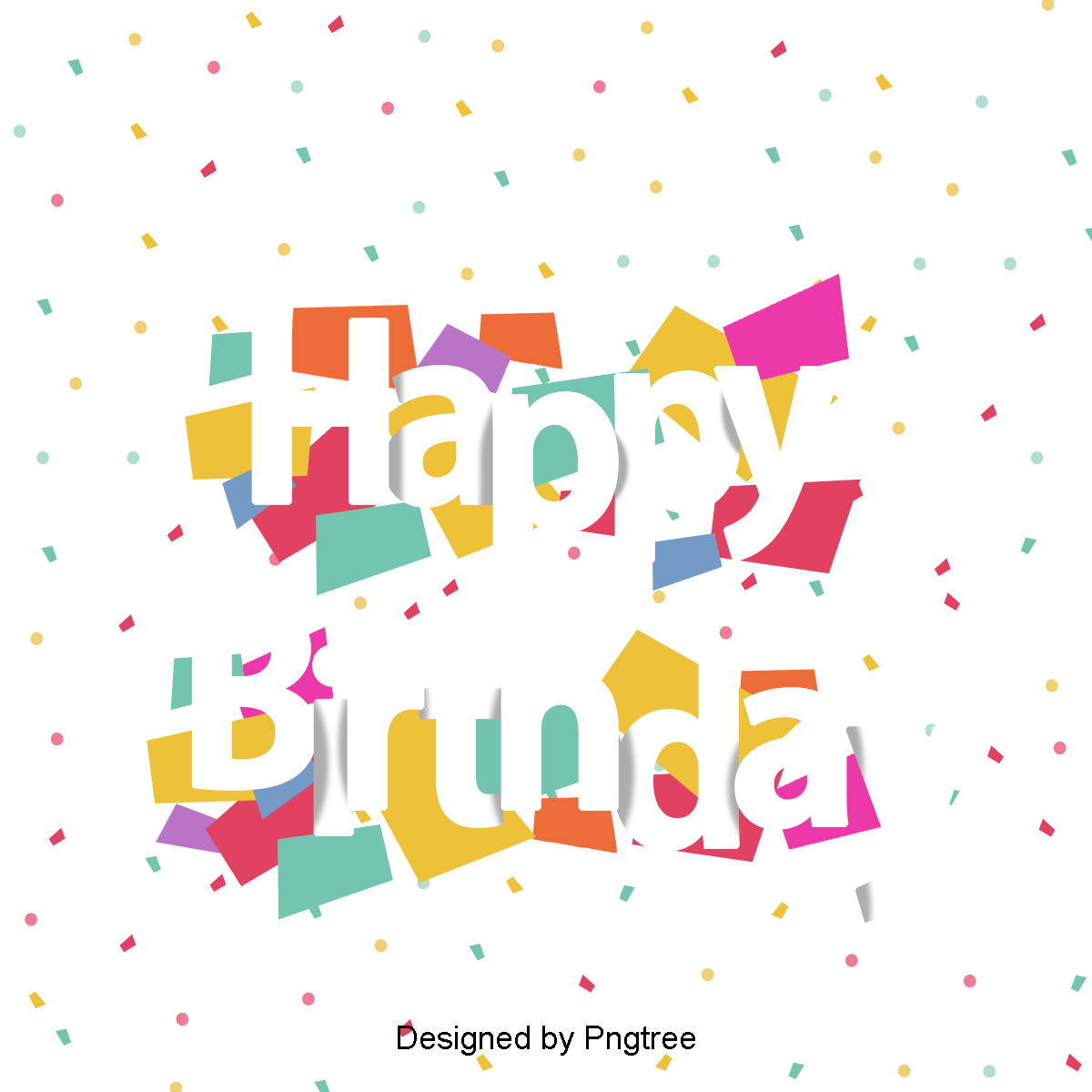 Happy birthday banner background png. Vector english alphabet and