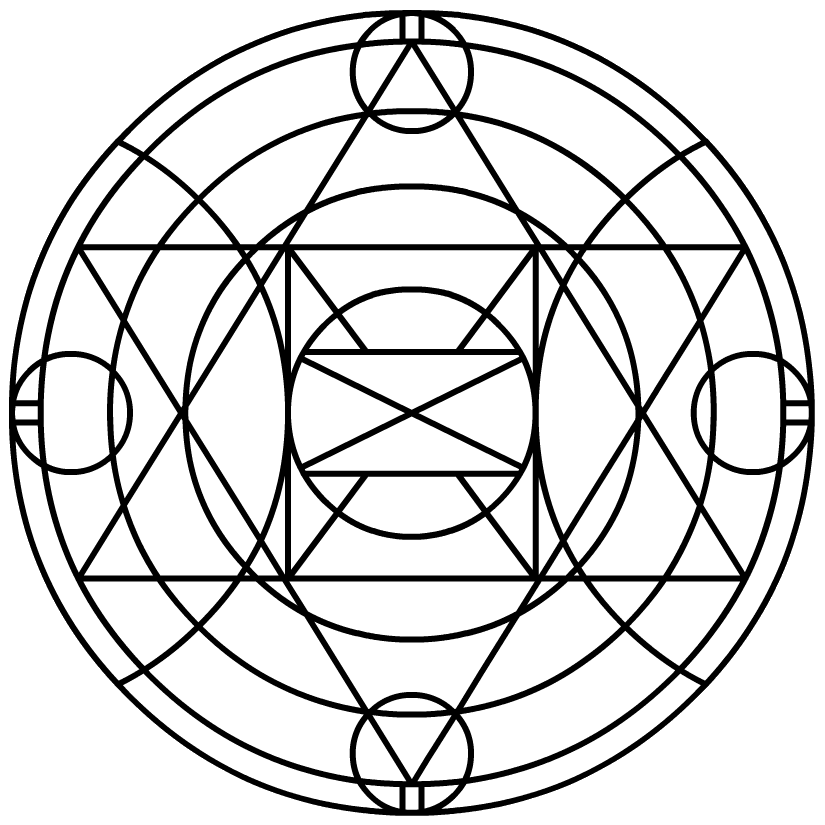 Enlightenment drawing alchemy. Element circle for