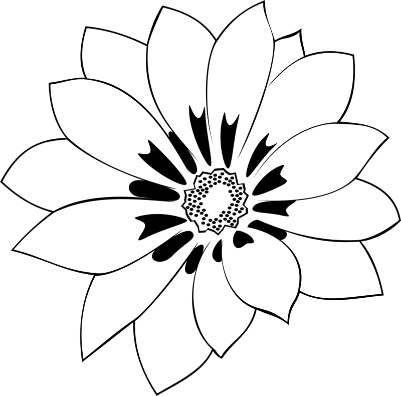 Enlightenment drawing bloomed flower. Beautiful blooming outline rubber