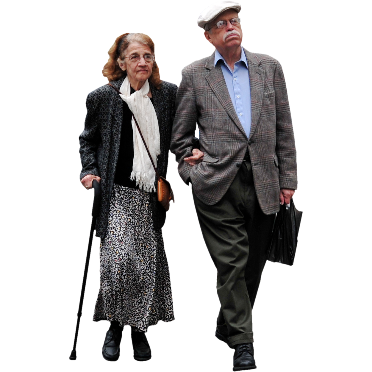 Old couple png. People on the town
