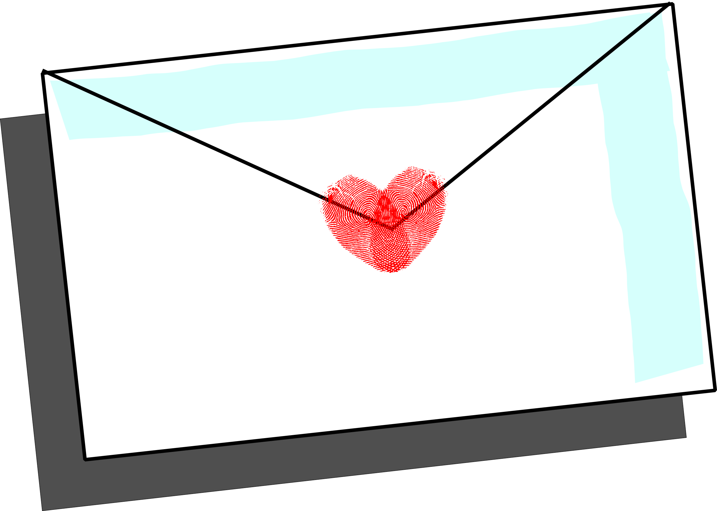 Envelope clipart heart seal. Love letter with fingerprint