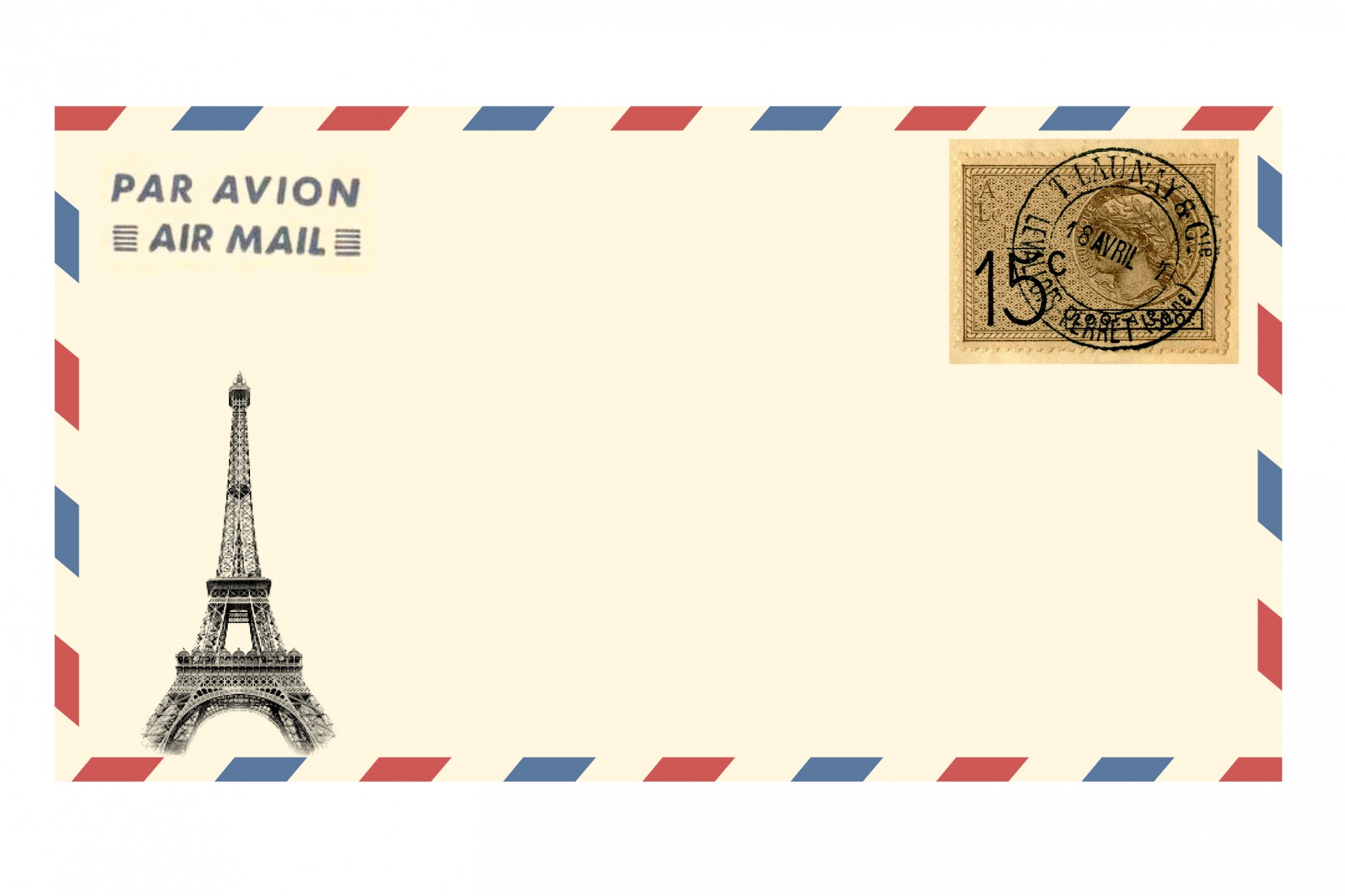 Envelope clipart par avion. Air mail eiffel tower