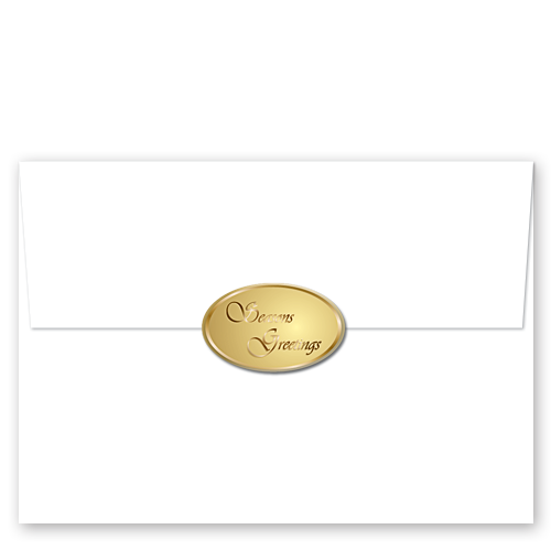 Envelope transparent foil. Season s greetings gold