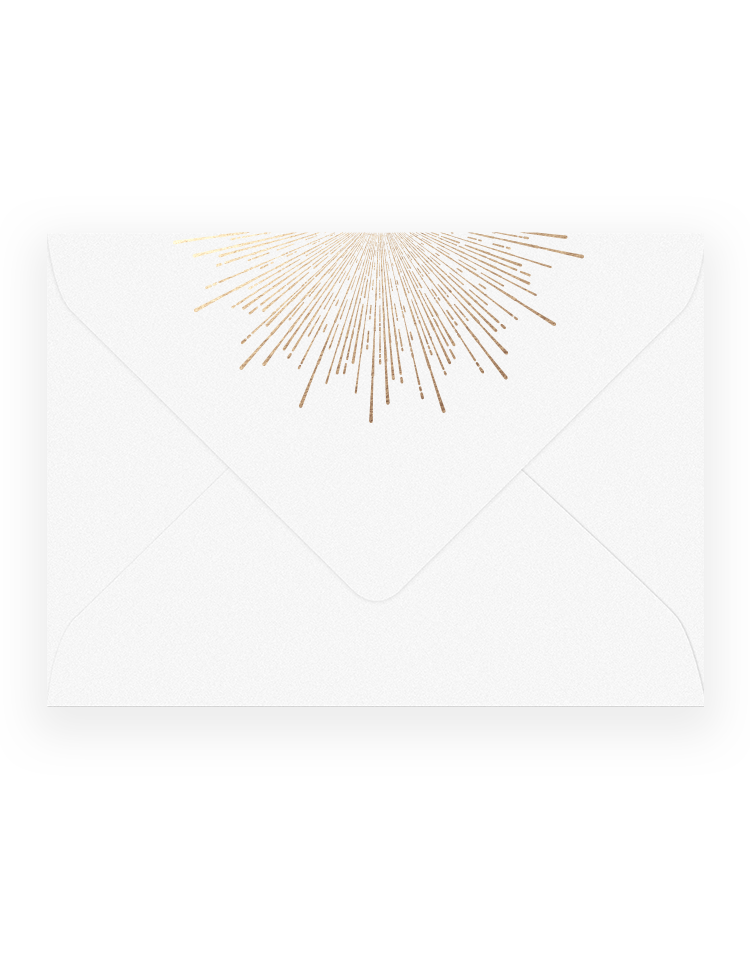 Envelope transparent foil. Sunburst the invite company