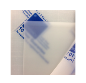 Envelope transparent frosted. Perspex sheet diffused effect