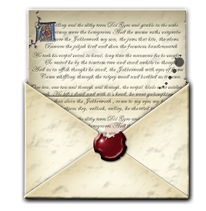 Envelope transparent old. Steampunk email open icon