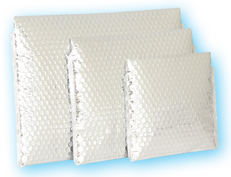 Envelope transparent packaging. Bubble chill insulated envelopes