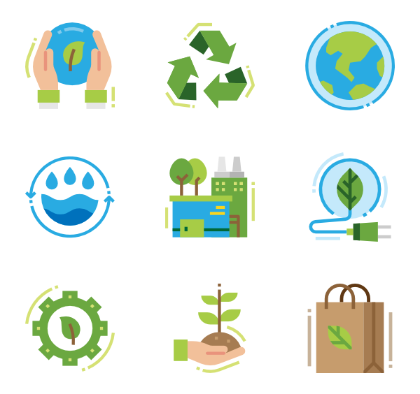 Environment vector. Icons free ecology