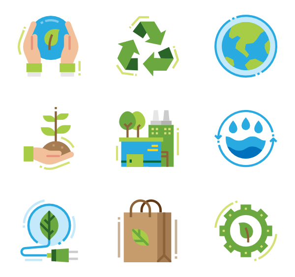 Environment vector flat design. Icons free ecology