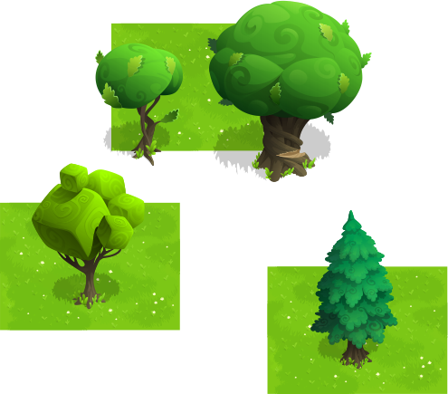 Games vector environment. Unusual trees by pavel