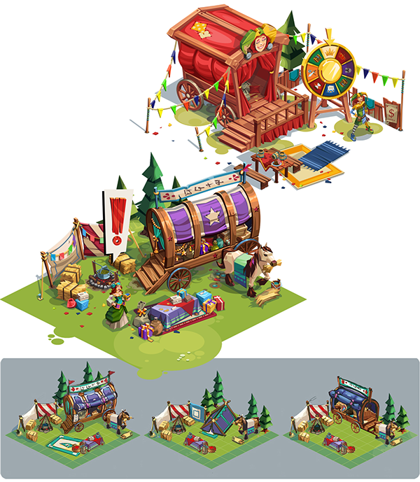 Games vector environment. Medieval buildings game assets