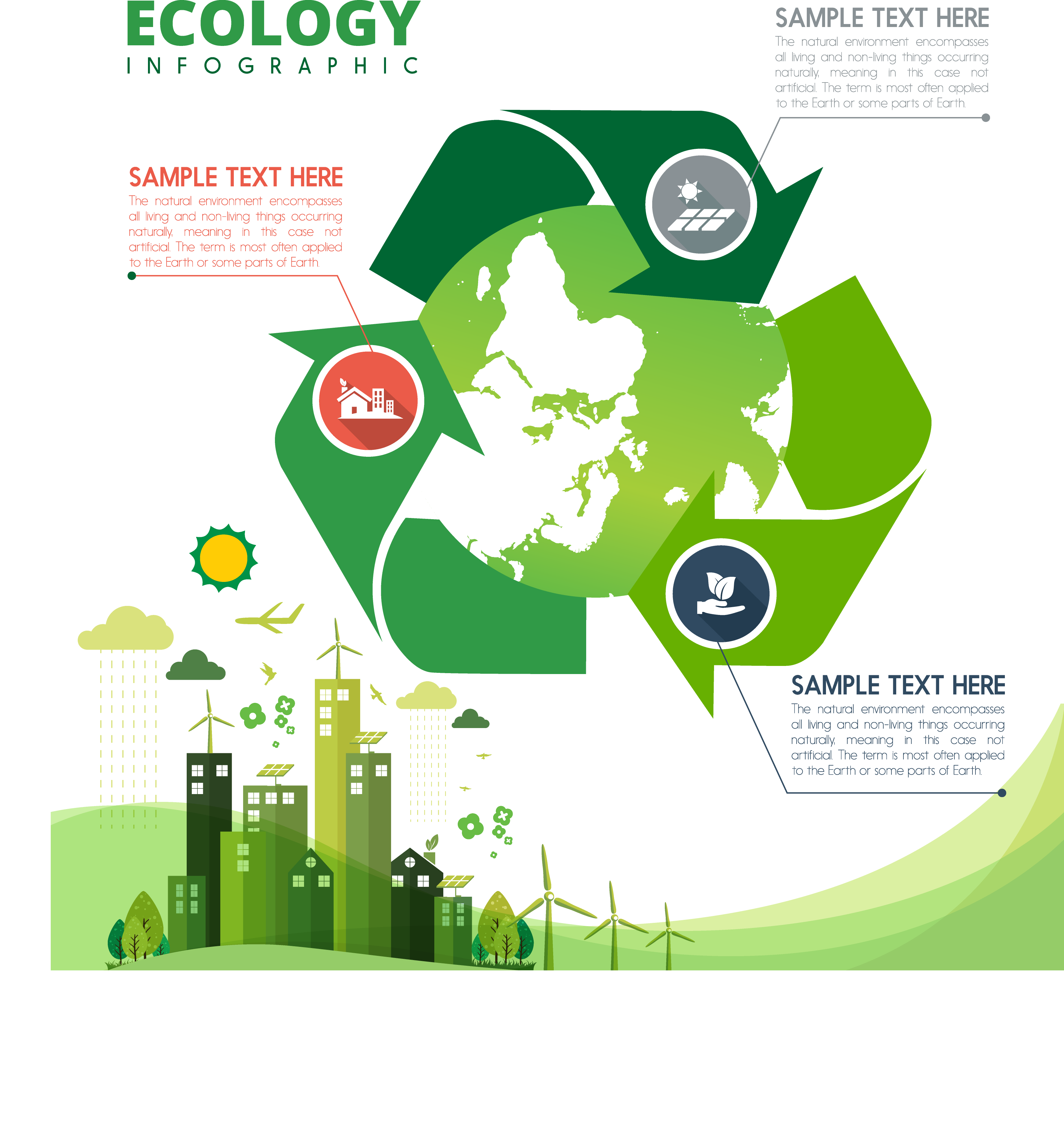 Environment vector infographic. Recycling symbol ecology icon