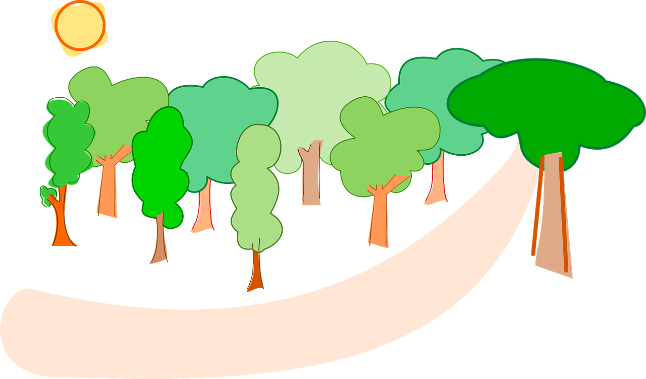 Vector nature countryside. Trees forest landscape environment