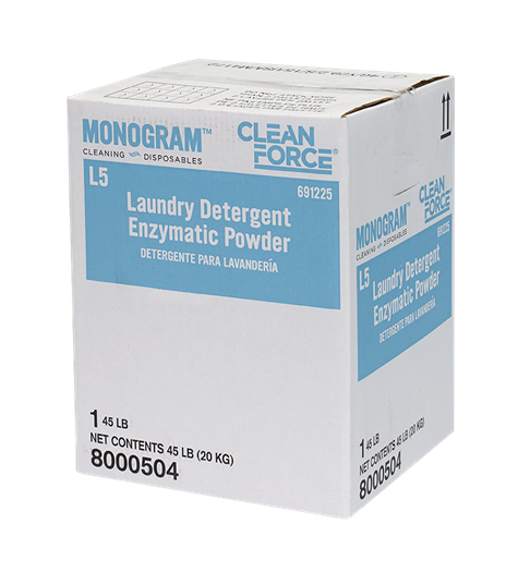 Enzyme drawing washing powder. Monogram clean force laundry