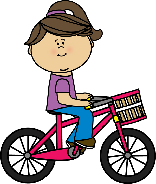 Bike clip transportation. Girl riding a bicycle
